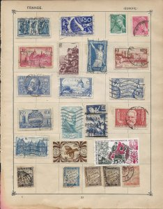 France Stamps on 2 sides of an Album Page