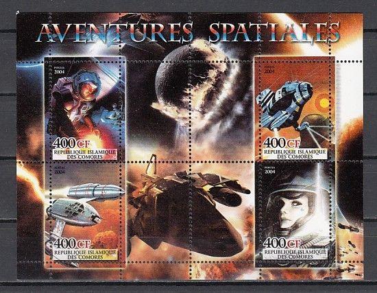 Comoros Is., 2004 Cinderella issue. Adventures in Space sheet of 4.