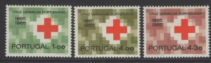 PORTUGAL SG1273/5 1965 CENTENARY OF PORTUGUESE RED CROSS MNH