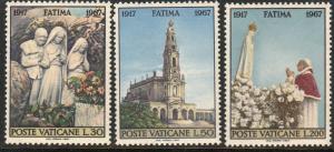 VATICAN 455-457, APPARITIONS OF FATIMA, 50th ANNIVERSARY. MINT, NH. F-VF. (412)