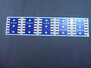 U.S.# 4158-MINT/NH-PLATE # COIL STRIP OF 5(V#111)---USA-STARS AND STRIPES --2007