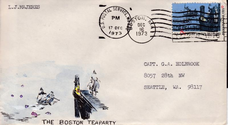 United States 1973 Boston Tea Party on Cover with small Handpainted Cachet