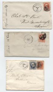3 Banknote era Maine Covers 1880s Machias, West Sullivan [y3330]