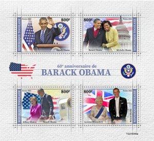 TOGO - 2021 - Barack Obama - Perf 4v Sheet - Mint Never Hinged