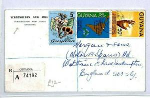 GUYANA Tuschen GB Southampton REGISTERED 1972 Vergenoegen{samwells-covers} CW206