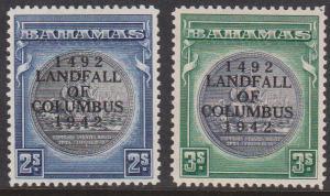 Bahamas - #126-127 1942 2/- & 3/- Seal Columbus Overprint mint VF
