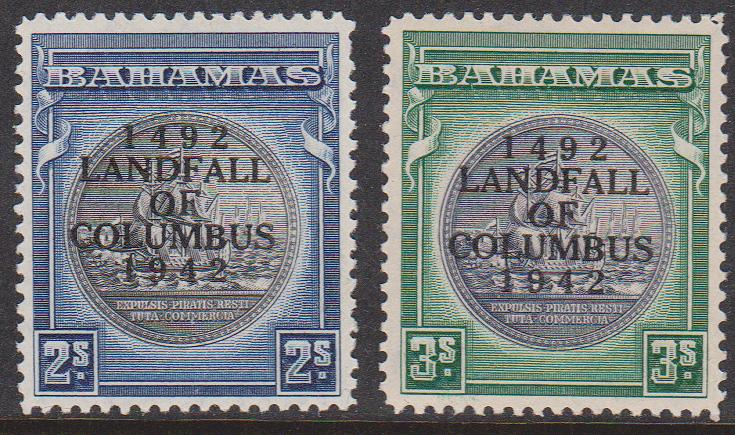 Bahamas - #126-127 1942 2/- & 3/- Seal Columbus Overprint mint VF