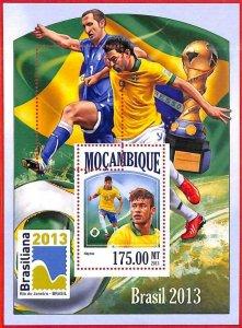 A4279 - MOZAMBIQUE - ERROR MISPERF Souvenir s: 2013, Soccer, Brazil 2014, Neymar
