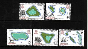 Kiribati-Sc#475-9-Unused NH set-Maps-Ships-1986-please note there is a spot of g