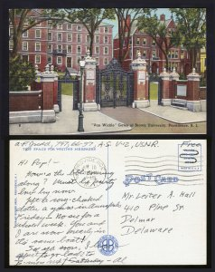 SOLDIERS FREE MAIL ⭐ USNR ⭐ POSTCARD PROVIDENCE RI VAN WICKLE GATES POSTED 1945