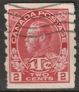 Canada 1916 Sc MR6ii war tax coil used rose carmine
