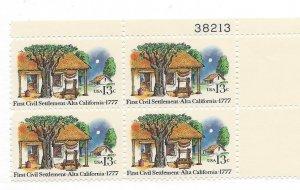 United States, 1725, Alta California Issue Plate Block of 4, #38213 UR, MNH