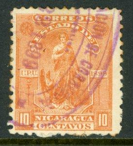 Nicaragua 1899 Seebeck 10¢ Justice Postally Used B806⭐⭐⭐⭐⭐⭐