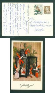 Denmark. Christmas Card 1961 Santa.  Christmas Seal, Owl. 20 Ore King. Holstebro