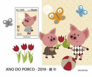 Z08 IMPERF ANG190102b ANGOLA 2019 Year of Pig MNH ** Postfrisch