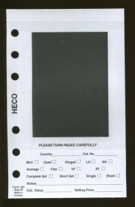 Pack of 100 HECO Dealer Stock Card Pages #6 for 6-Ring Mini Binder 4 x 6.5