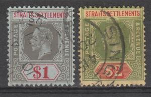 STRAITS SETTLEMENTS 1912 KGV $1 AND $2 WMK MULTI CROWN CA