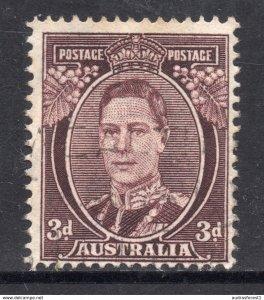 1941 Australia MIchel no. A143C ~ SG no. 187 ~ Scott no. 183A KGVI brown 3d Fine