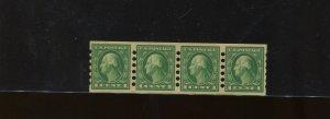Scott #408 Washington Mailometer Type 1 Mint Strip of 4 Stamps  (Stock 408-MOM5)