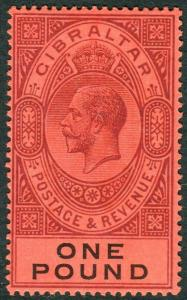 GIBRALTAR-1912-24 £1 Dull Purple & Black/Red.  An unmounted mint example Sg 85