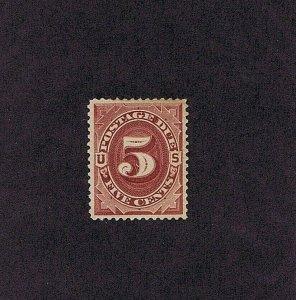 SC# J18 UNUSED OG HINGED 5 CENT POSTAGE DUE 1884, 2020 PSAG CERT GRADED VF-XF 85
