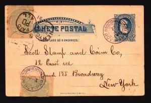 Brazil 1891 White Beard Postal Card Uprated to Scott's NY (See Notes) - Z19395