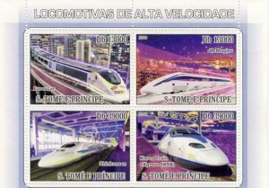 St Thomas - High Speed Trains - 4 Stamp Sheet - ST9118a
