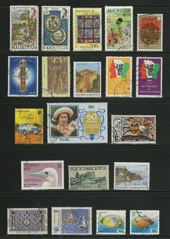 Worldwide 20 ALL Different Used SCV 10.10