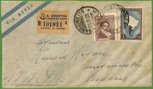 98753  - ARGENTINA - POSTAL HISTORY - Registered Airmail COVER  to ITALY  1950