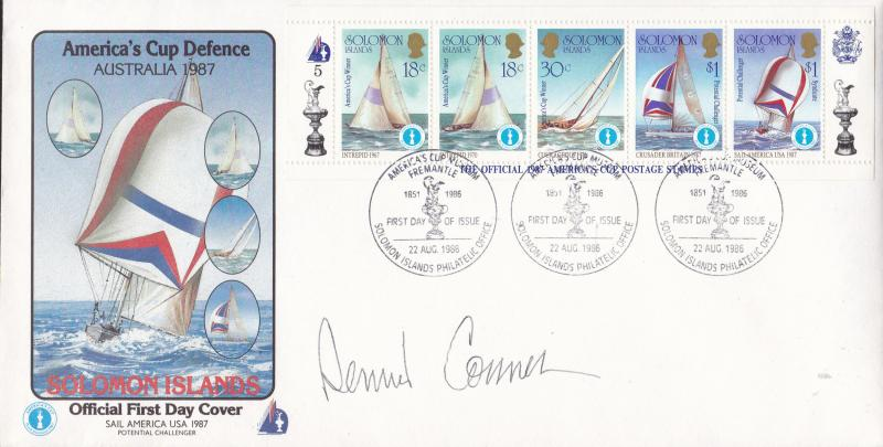 Solomon Islands 1987 America's Cup Defence (5) on FDC Dennis Conner Autograph