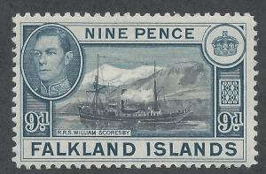 FALKLANDS 1952 KGVI SHIP  9D