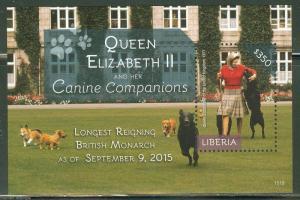 LIBERIA  2015 QUEEN ELIZABETH THE LONGEST REIGNING BRITISH  MONARCH S/S  MINT NH