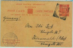 BK0228 - ZANZIBAR - POSTAL HISTORY - Stationery Card H.G. #16 to Germany 1907
