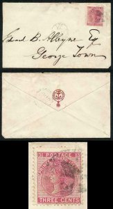 PRINCE EDWARD Is SG45 1872 3c rose perf 12.5-13 on Cover Last Month of Use