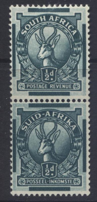 SOUTH AFRICA -Scott 23- Springbok -1926 -MVLH- Vert.Pair 1/2d Stamps