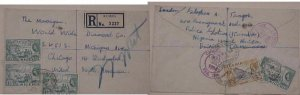 CAMEROONS ON NIGERIA KUMBA REGISTERED 17 FEB 1954 TWO USA BACKSTAMP