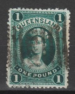 QUEENSLAND 1882 QV CHALON 1 POUND WMK CROWN/Q SIDEWAYS USED
