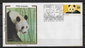 US 1992 Colorano Silk Cachet FDC, Wild Animals, PANDA,VF-XF (RN-50)
