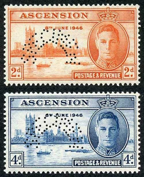 Ascension SG48s/9s 1946 Victory set perf SPECIMEN Brilliant M/M