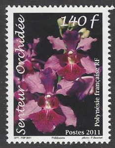 French Polynesia #1058, mint single, Orchids