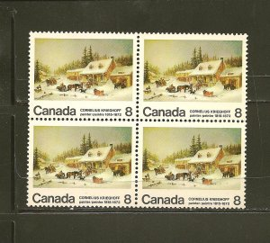 Canada 610-610i Broken Door Variety (2 left stamps) Block of 4 MNH
