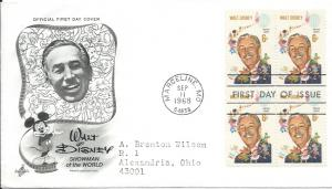 1355 FDC, 6c. Walt Disney Block of 4, Artcraft,  scv: $25