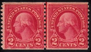 United States #599, Join Line Pair, MNH