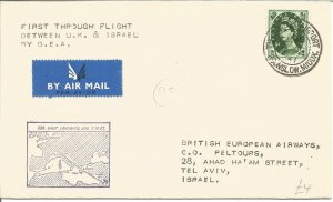 1st Through Flight UK & Israel By British European Airways Cover 1957 Z10302