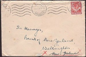 SOUTHERN RHODESIA 1947 GVI 2d on cover NDOLA to New Zealand................35183