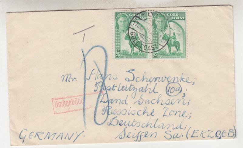 GOLD COAST, 1949 Taxed cover T18, KGVI 1/2d.(5) ODA to Germany, Russian Zone.