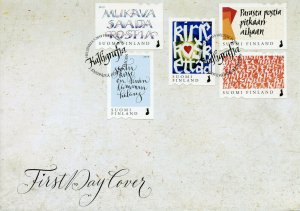 Finland 2019 FDC Touching Letter Calligraphy 5v S/A Cover Art Stamps