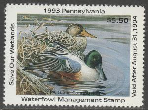 U.S.-PENNSYLVANIA 11, STATE DUCK HUNTING PERMIT STAMP. MINT, NH. VF