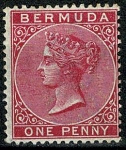 BERMUDA 1883-1904 QV 1d CARMINE-RED SG24 MINT HINGED Wmk.CROWN CA VGC