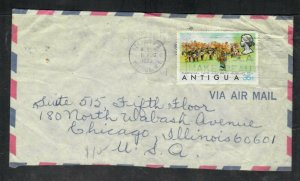 ANTIGUA  COVER  (P2406B)  1973  QEII 35C CARNIVAL ON A/M COVER TO USA